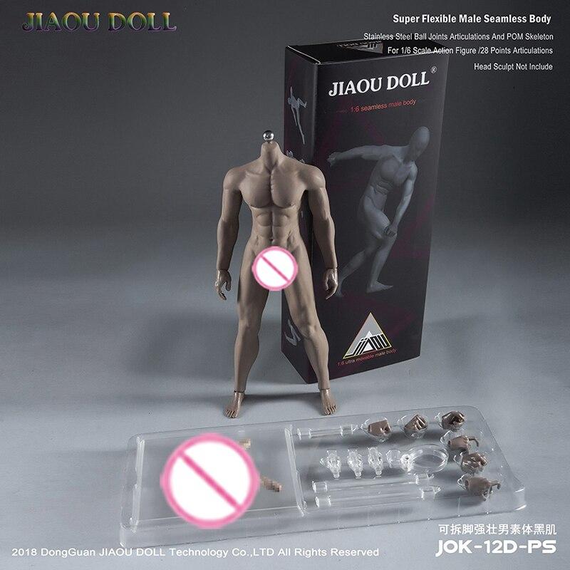 JIAOUDOLL 1/6 Figure Super Flexible Male Seamless Body 1/6 Natural Tan Black Male Seamless Skeleton Body Muscle Figure Toys