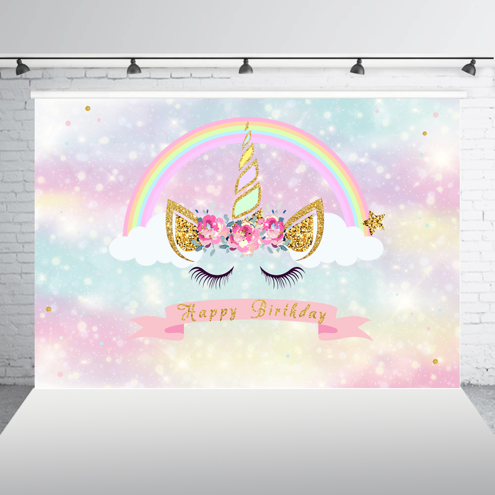 Unicorn Backdrop for Birthday Party Pink Magic Sky Floral Rainbow Newborn Baby Shower Photography Background Photo Booth W-812 自宅 ワイン セラー
