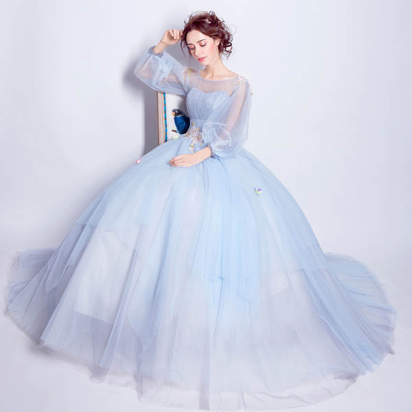 33a6d4c99b US $72.25 15% OFF SSYFashion Sweet Light Blue Flower Fairy Princess Prom  Dress Transparent Long Sleeves Sequined Party Ball Gown Robe De Soiree-in  ...