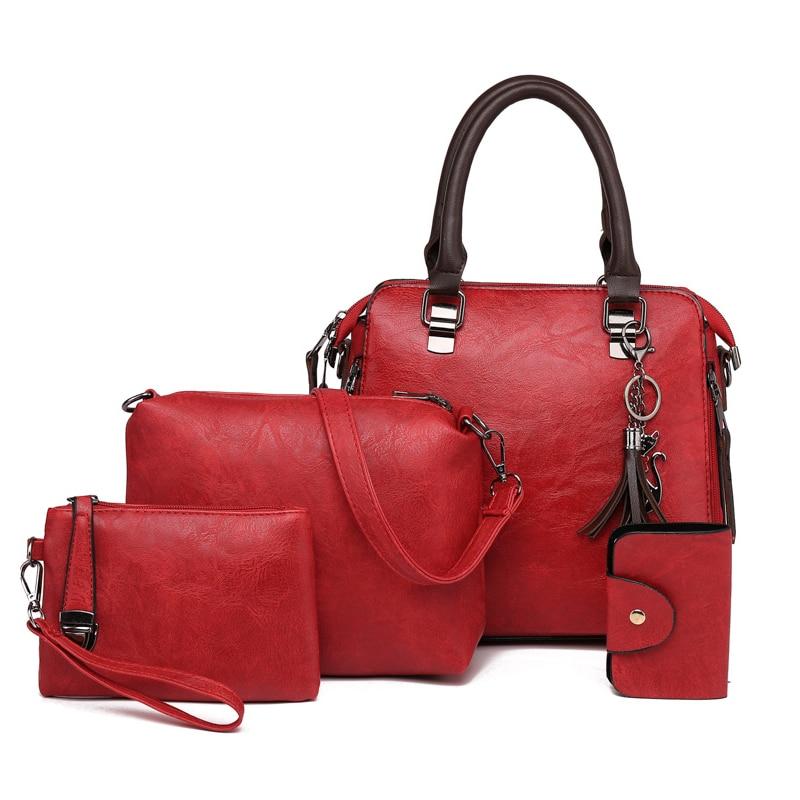 Women\\'S Handbag 4 Sets PU Leather Totes Composite Bag Crossbody Bags For Women Messenger Bags Ladies Gray Hand Bag
