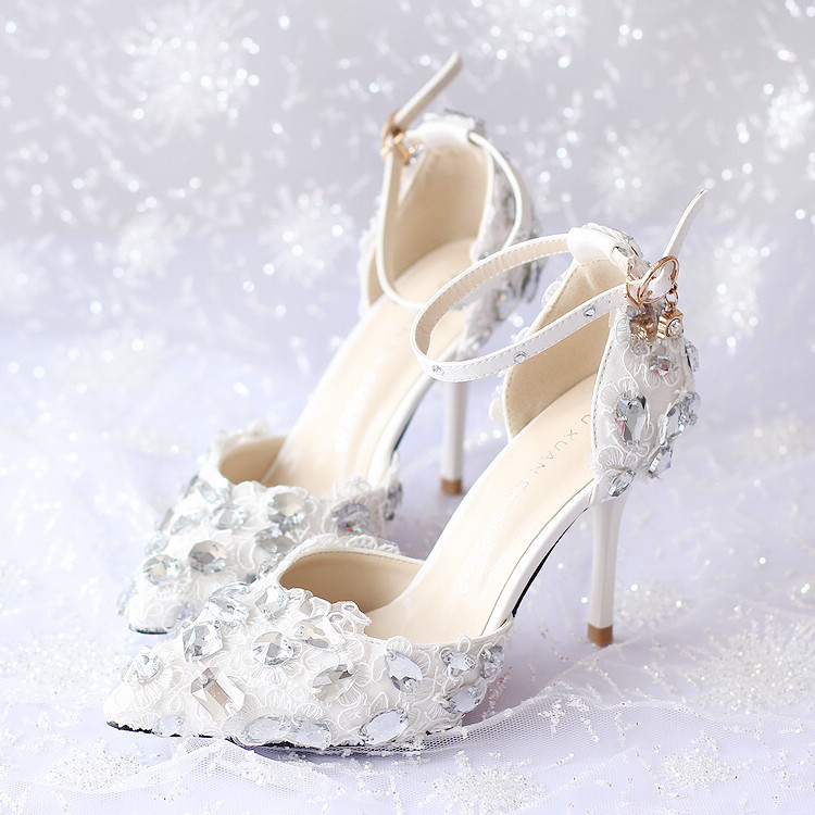 Rhinestone Wedding Heels: Women Pumps White Lace Rhinestone Wedding Bridal Shoes