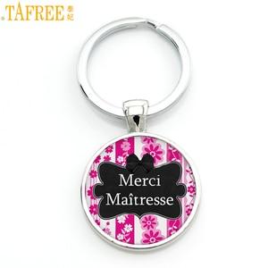 TAFREE 2017 new Merci Maitresse glass cabochon car key chain ring holder classic school jewelry for women men keychain CT312