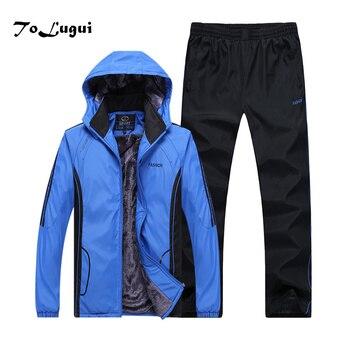 Musim Gugur Musim Dingin Baju Olahraga Pakaian Pria Menebal Hangat Jaket + Celana Perapi Sportswear Set Pria Hoodie Olahraga Cocok 2 Piece Set