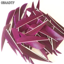 50Pcs 3 inch Water Drop Turkey Feather Colour Violet High Quality Real Feather Arrow Feathers Vanes Archery 50pcs high quality 3inch feath shield cut vanes turkey feather violet arrow real feather arrow feathers vanes bow arrow