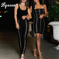 Bqueen 2017 New Fashion Button Embroidery Hollow Out Sexy Elastic Waist  Bandage Trousers Pencil Pants With Zippers