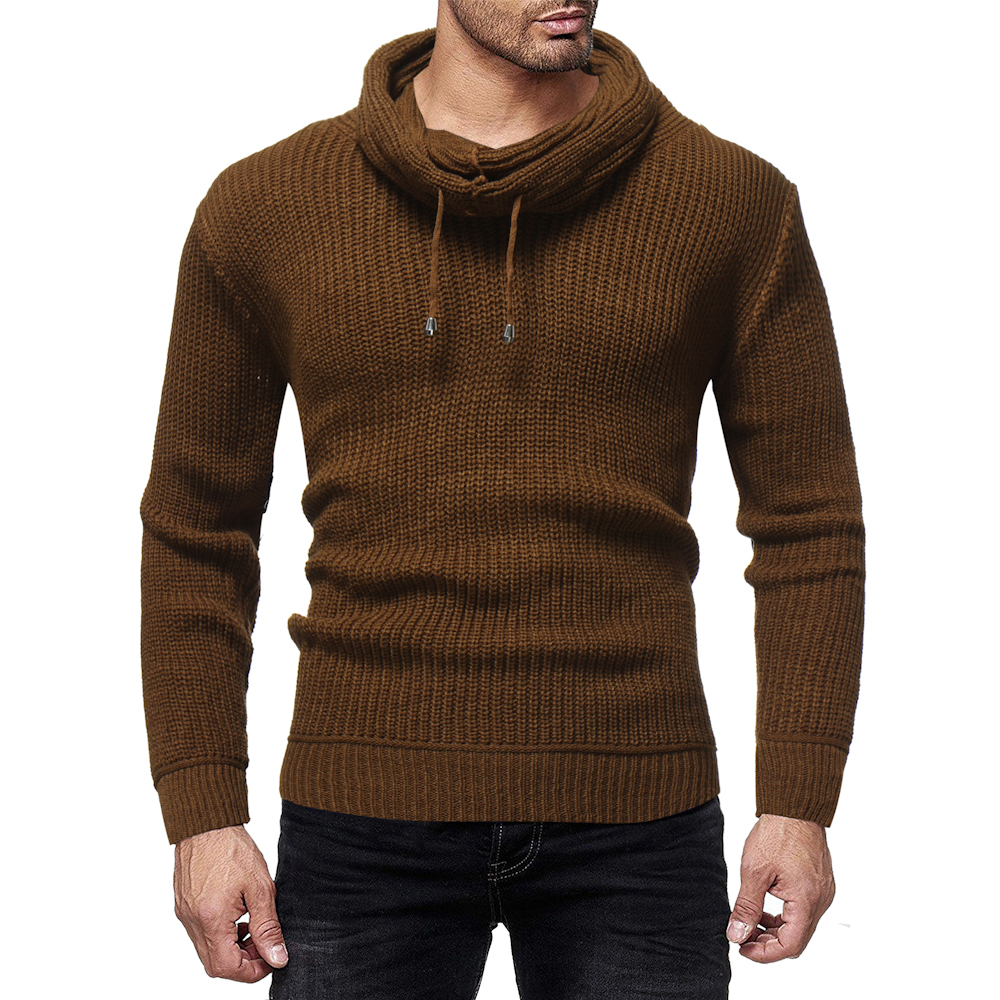 Men's Sweater Pullovers Slim-Fit Knitted Autumn Winter New Brand Solid Casual Turn-Down-Collar