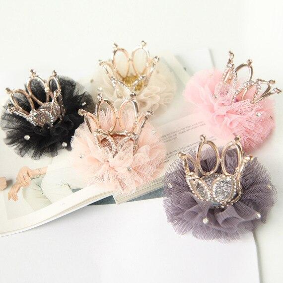 Rhinestone Crown Lace Baby Girls Headwear Princess Sweet Girls Hair Clip Hairpins For Kids Girls  Hair Accessories Tiaras Kids