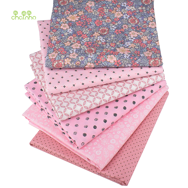 Chainho,6pcs/lot,Pink Floral Series,Printed Twill Cotton Fabric,Patchwork Cloth For DIY Sewing Quilting Baby&Children's Material