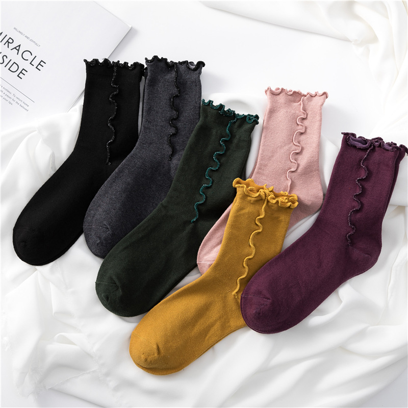 Women Socks Autumn 1 Pair Long Socks Cute Cotton Solid Color Women Fashion Fresh COTTON Socks For Women Korean