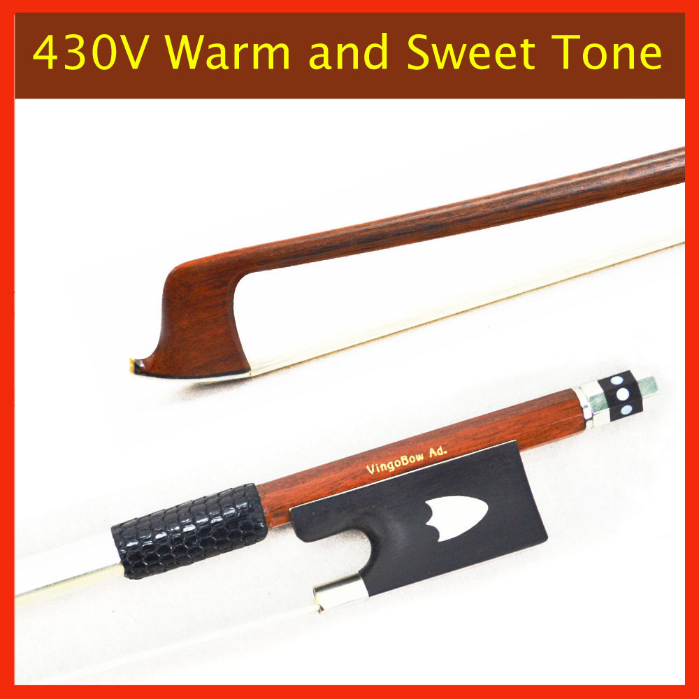 430V 4/4 Size VIOLIN BOW Pernambuco Stick Ebony Frog Nickel Silver Mounted Natural Mongolia Horsehair Violin Parts Accessories 1 4 size 812vb pernambuco violin bow high density ebony frog with nickel silver good quality hair straight violin accessories