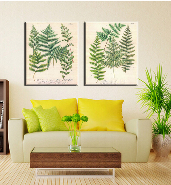 Fern painting on canvas for home decoration, European style, spray ...