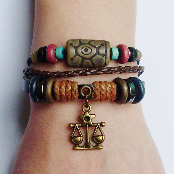 New 12 Zodiac Sign Charm Hemp Leather Bracelet  Aquarius Capricorn Pisces Scorpio Libra Gemini Sagittarius for Men Women Surfer 2