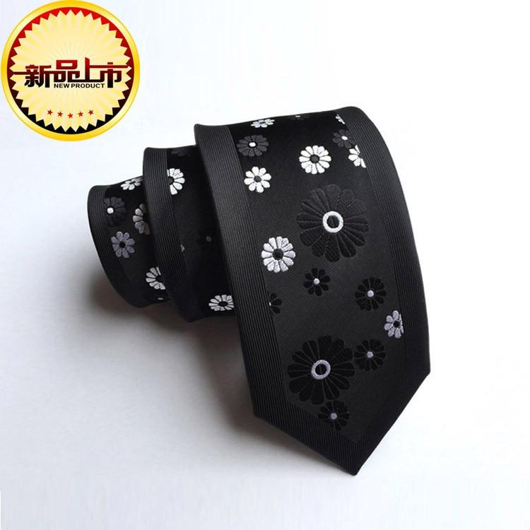 New Personality Small Designer Fashion Necktie Silk Location Flower Pattern 6cm Narrow Slim Tie Fit Party Business Wedding