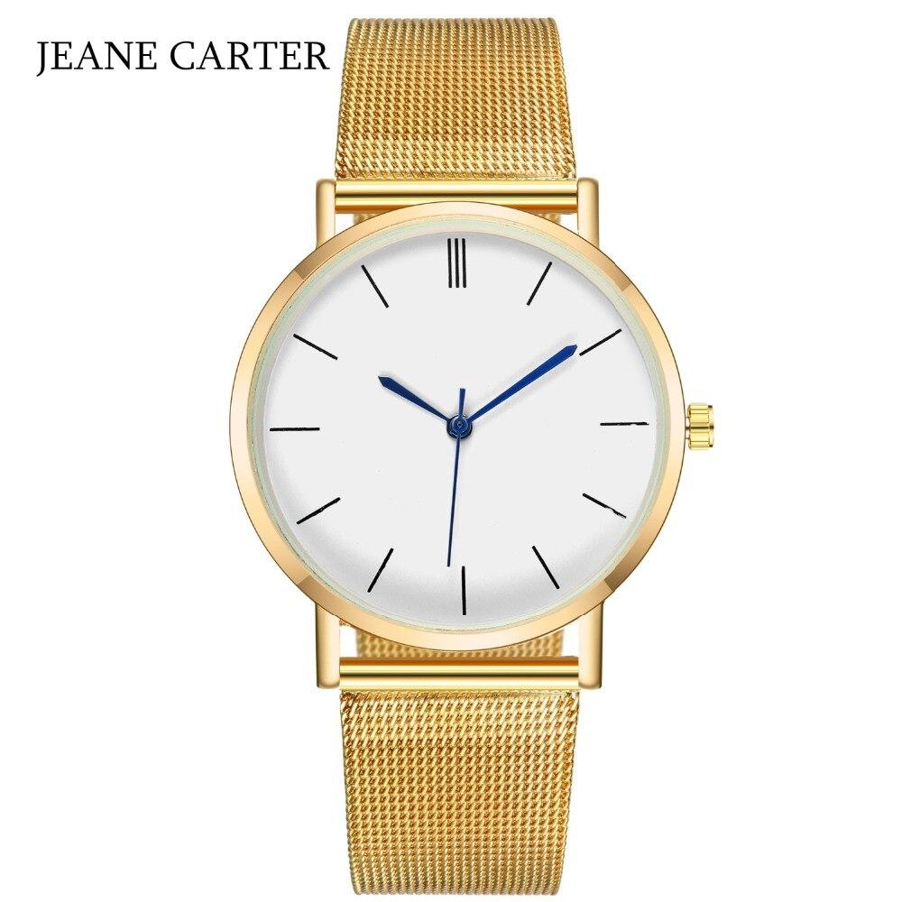 Envío de la gota 2019 venta reloj de las mujeres de la marca de lujo de oro de plata de cuarzo reloj de los hombres de acero de malla de reloj femenino reloj