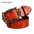 IFENDEI Fashion Genuine Leather Belt For Woman Vintage Floral Carved Cow Skin Women's Belts Alloy Buckle Strap Female Ceintures