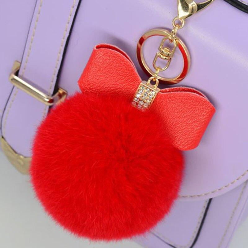 Fur Pom Pom Keychain Rhinestone Bow Real Rex Rabbit Fur Ball Bag Car Key Chain PomPom Plush Keyrings