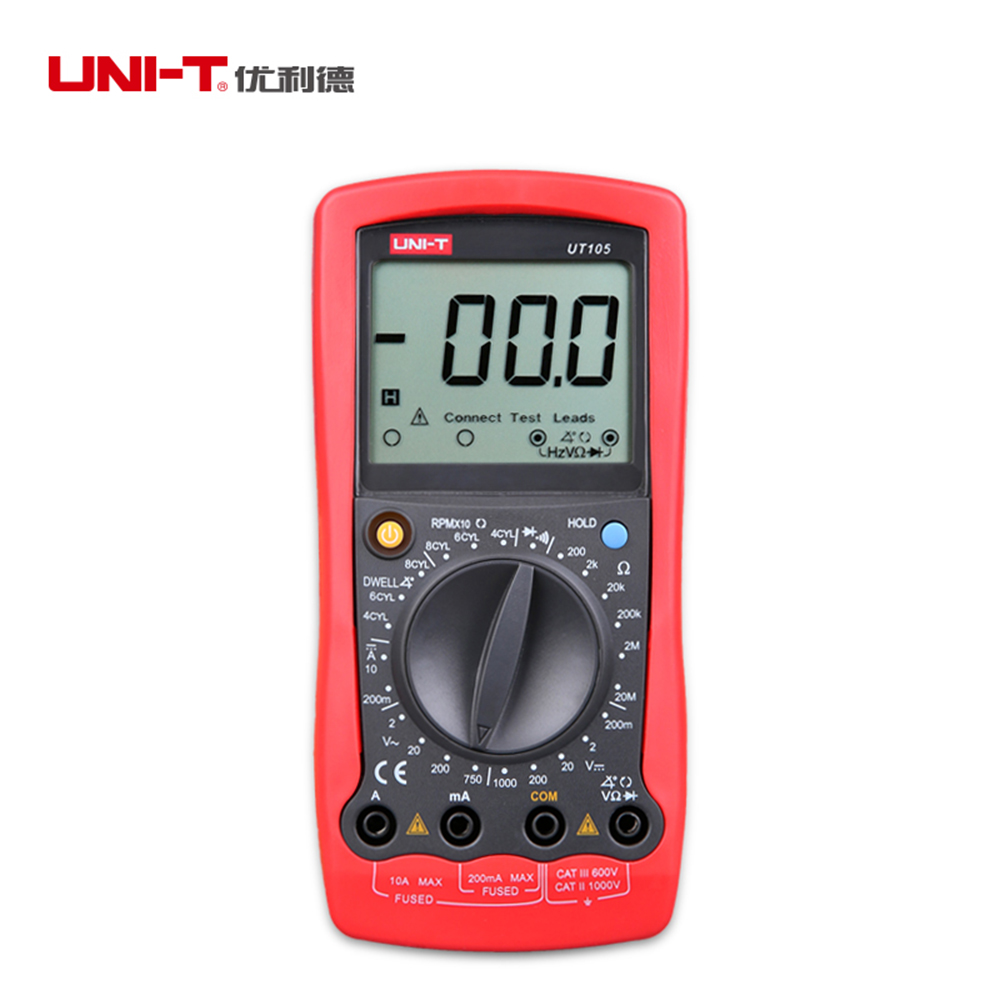 UNI-T UT105 Handheld Automotive Digital Multimeter Auto Range AC DC Voltage Current Meter Tester Voltmeter Ammeter lcd range auto digital pocket voltmeter multimeter tester tool ac dc xb 866 mini