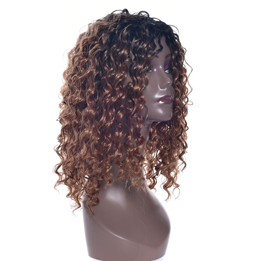 Soloowigs High Temperature Fiber Long Curly Synthetic Hair Full Lace Black Ombre Brown Middle Parted Wig for the African Women