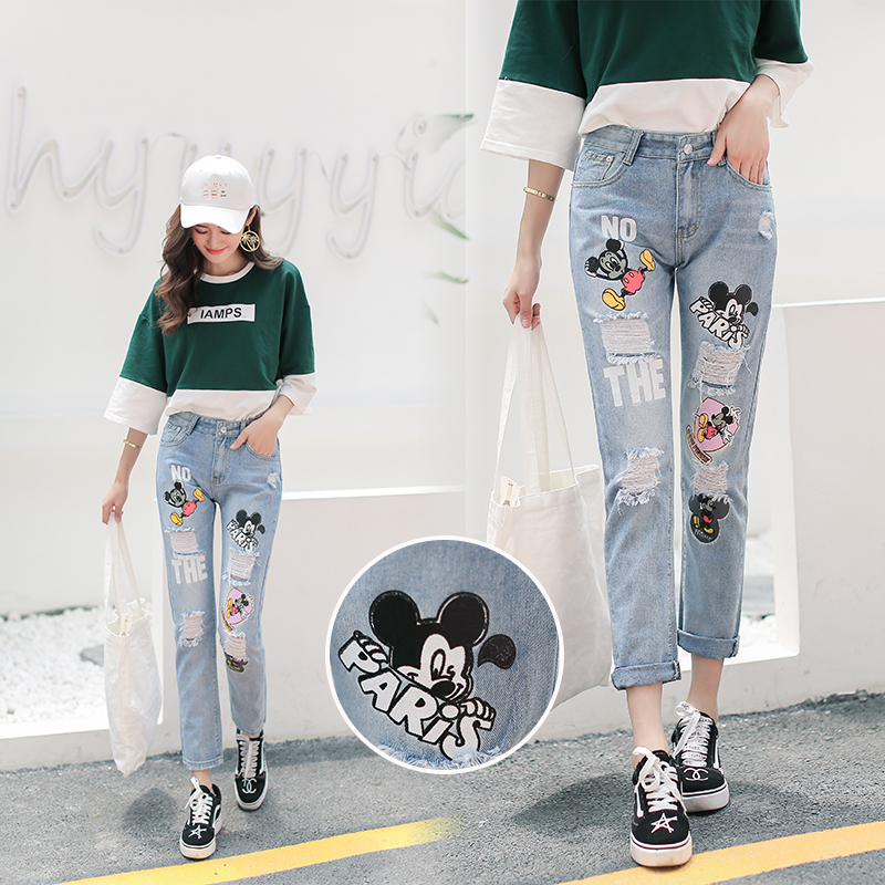 2018 New College Wind Cartoon Embroidered Mickey   Jeans   Women Casual Cotton Loose High Waist Hole Blue Nine Pants 0811#
