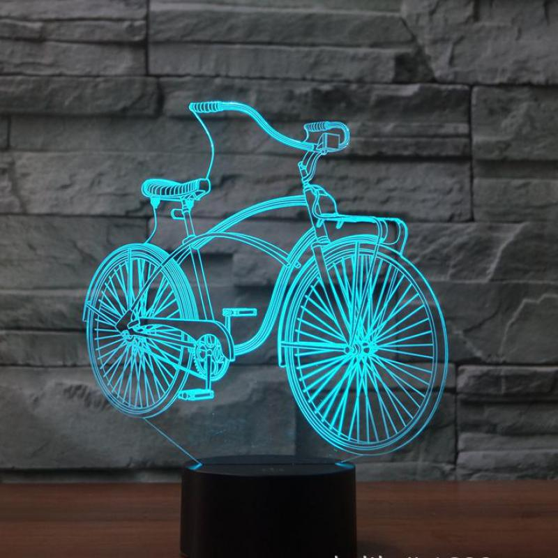 New Bicycles 3d Lights Led 7 Colorful Remote Control 3d Lamp Acrylic Visual Light  Novelty Luminaria  Led Night Light