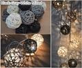 20 unids/set gris negro blanco mezclado Guirnalda Hecha A Mano de la Rota de Mimbre Bolas de Cuerda Luz de Navidad Fiesta Patio Decor lámpara de La Noche