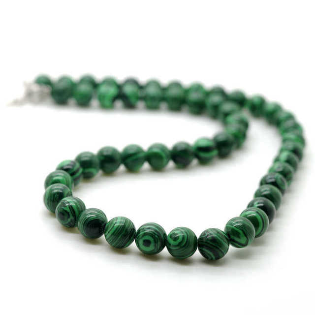 hot sales Natural Malachite necklace magnetic clasp 8 MM semi precious stone round beads jewelry for women & Men 5pcs/lot
