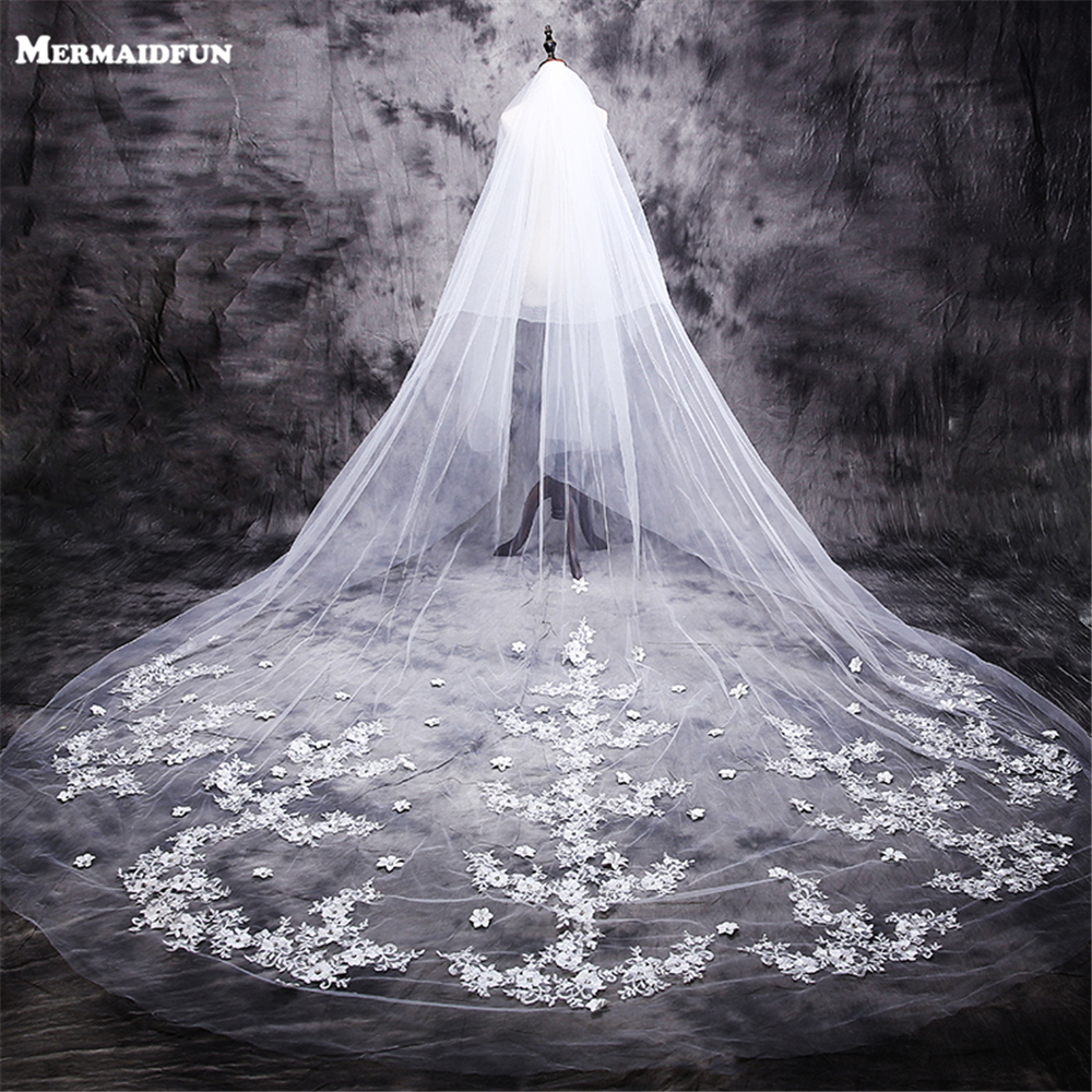 2019 New Hot Velos De Novia 3 Meters 2T White&Ivory Lace Appliques Rhinstones Purfle Long Cathedral Wedding Veils With Comb