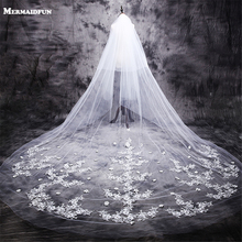 New Hot velos de novia 3 Meters 2T White&Ivory Lace Appliques Rhinstones Purfle Long Cathedral Wedding Veils with Comb