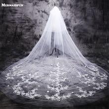 ใหม่ร้อน velos de novia 3 เมตร 2T White & Ivory Lace Appliques Rhinstones Purfle ยาวแต่งงาน Wedding Veils หวี