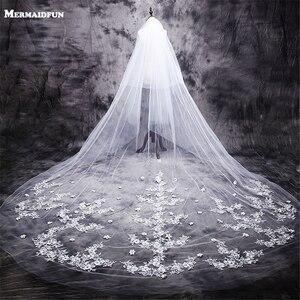 Image 1 - ใหม่ร้อน velos de novia 3 เมตร 2T White & Ivory Lace Appliques Rhinstones Purfle ยาวแต่งงาน Wedding Veils หวี