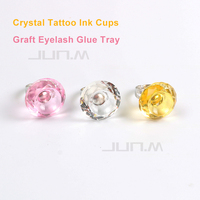 10pcs Crystal Tattoo Ink Ring Cups Semi Permanent Makeup Eyebrow Microblading Pigment Ring Cup For Tattoo Supplier