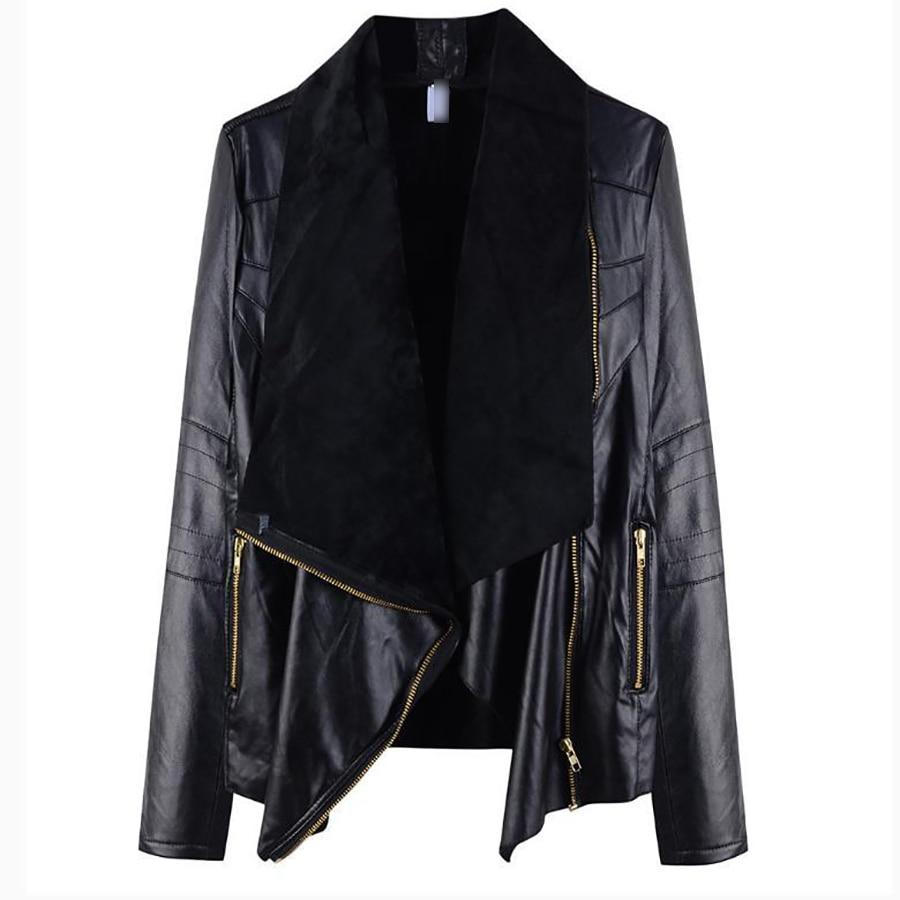Women Women Women Fashion 2018 Black Leather Faux Jackets Autumn Winter ZtR6H