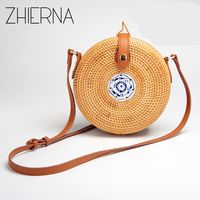 ZHIERNA Travel Summer Bag For Ladies Blue And White Porcelain Decoration Women Circle Straw Bag Handmade