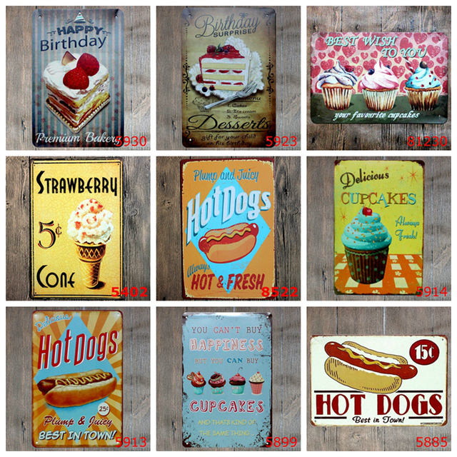 20x30cm Vintage Cake Hamburger Metal Tin Signs Hot Dog Bakery Food Retro Poster Home Decor Wall