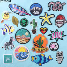 ZOTOONE Animal Letters Patches Embroidered Stripes on Clothes Iron Punk Style Stickers Diy Appliques Garment Accessories E