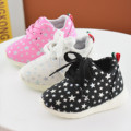 13-15cm Baby Sports Shoes Fashion Lace-up Running Shoes Soft Bottom Star Pattern Shoes