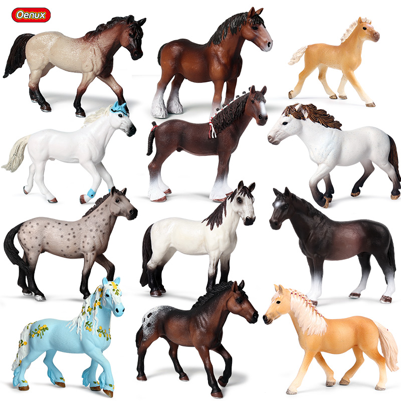 Oenux Original Forest Wild Steed Farm Animal Horse Model Action Figures Classic American Clydesdale Horse PVC Figurines Toy Kid