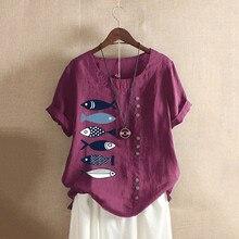 купить 2019 Womens Shirt Fashion Cartoon fish Print T-Shirt Short  O-Neck Sleeve Linen Loose Button Tunic Shirt Tops L703 дешево