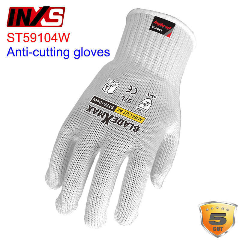 цена на SAFETY-INXS ST59104W Level 5 Anti-cutting gloves white BladeX fiber anti cut gloves Machine made Food cutting safety glove
