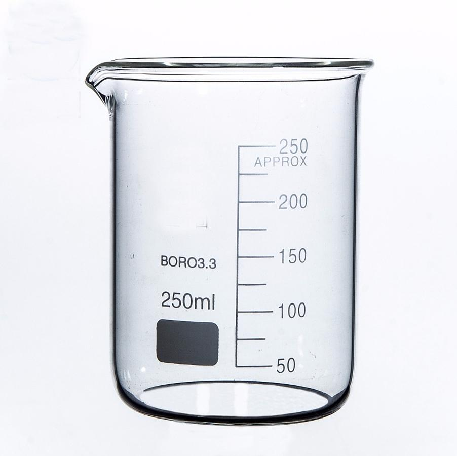 Copo transparente engrossado do vidro de borosilicate do laboratório da química do copo do baixo formulário 250ml com bico