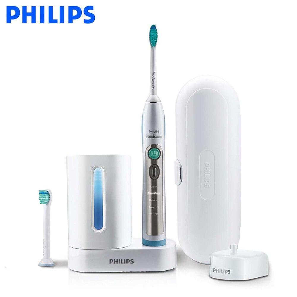 Philips Sonicare FlexCare + Sonic électrique brosse à dents HX6972/10 avec imperméable à l'eau rechargeable pour adulte brosse à dents blanc et argent