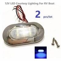 2pcs Lot 12V DC Blue LED Courtesy Light Waterproof IP66 Garden Accent Deck Step Lamps RV