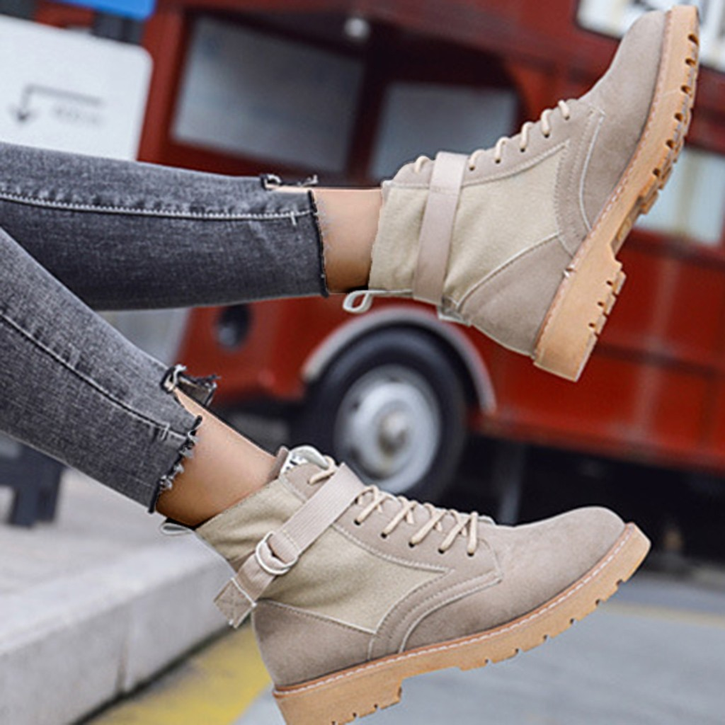 Perimedes Women's Flock Boots Sewing Solid Boots Women Slip-On Buckle Women Boots Autumn In Ankle Boots bota feminina 1