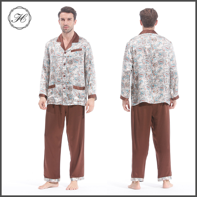 HCY 2017 Classical Extreamly Comfortable 100% Mulberry Silk Pajamas Sets  For Men 4e9eb912b