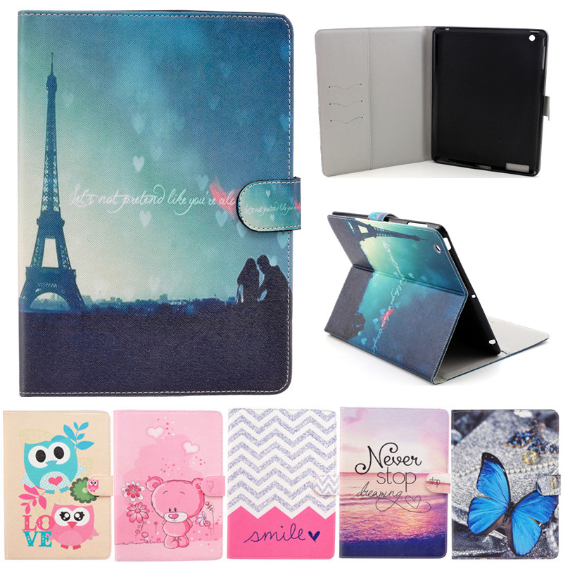 For Apple ipad 2 3 4 Case Cartoon Flip PU Leather Cover For New ipad2 ipad3 ipad4 Stand Holder Folio Tablet Case Fundas Coque купить