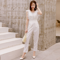 2019 Summer Lace Jumpsuit for Women Ankle Length High Street Black/White Jumpsuits with Pocket
