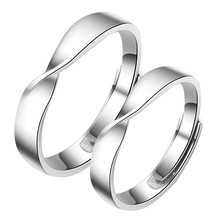 Silver Color Simple Wedding Couples Rings Woman Man Ring Engagement Lovers Gift Fashion Jewelry Adjustable(China)