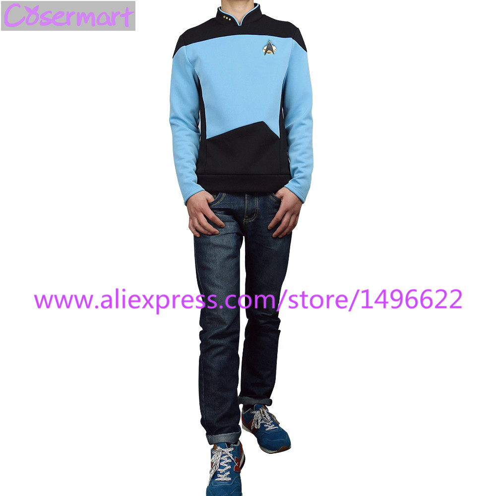 Star Trek TNG The Next Generation Red Yellow Blue Shirt Uniform Cosplay Costume For Men Coat Halloween Party