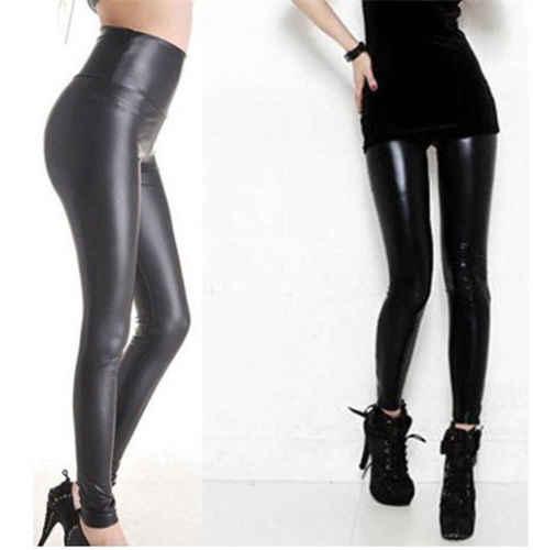 Черные женские Стрейчевые брюки из искусственной кожи с высокой талией облегающие леггинсы один размер дешевая женская одежда