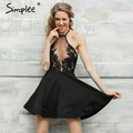Simplee Halter white lace mesh sexy dress Women black backless beach summer dress vestidos Elegant evening party short dress
